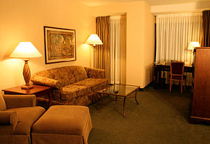 Hotel suite living room in the Doubletree Hote...